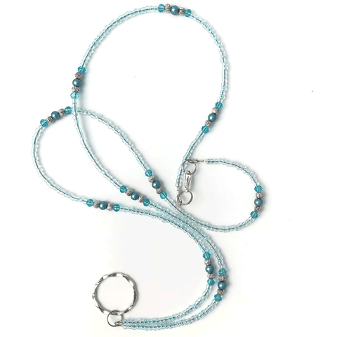Aqua Beaded Eyeglass Lanyard - ID Badge Lanyard - Plum Beadacious