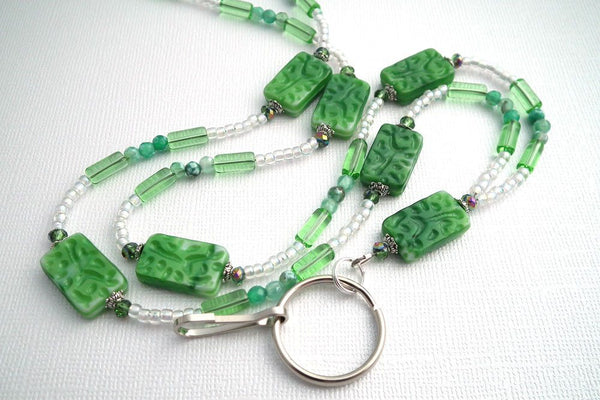 Green Beaded Lanyard - Green Chalk Matte Beads, Green Agate Beads, Green Glass Tube Beads - Plum Beadacious