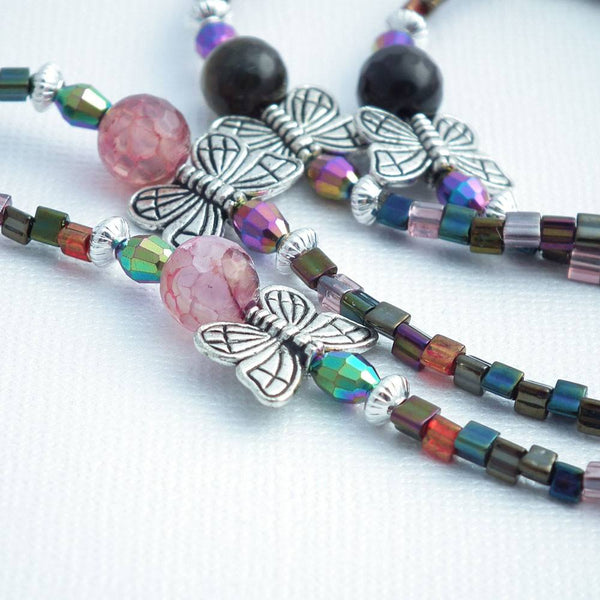 Butterfly and Agate Beaded Lanyard - Silver Butterflies, Pink and Purple Agates - Plum Beadacious  - 2