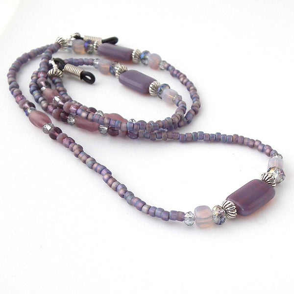 Plum Purple Glass Bead Eyeglass Chain - Reading Glasses Holder for Seamstress, Beader, Knitter - Plum Beadacious  - 1