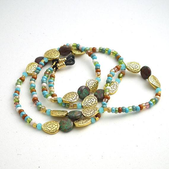 Beaded Eyeglass Chain - Round Disc Brown Green Stones, Gold Plated Decorative Beads, Multi Color Seed Beads Reading Glasses Holder - Plum Beadacious