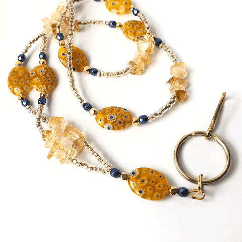 Yellow Millefiori beaded lanyard