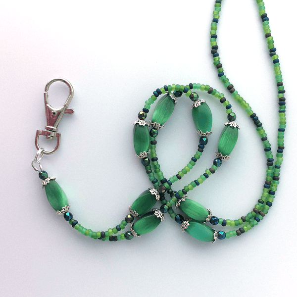 Green Beaded ID Badge Lanyard - Green Oblong Cat Eye Beads ID Necklace - Plum Beadacious -4