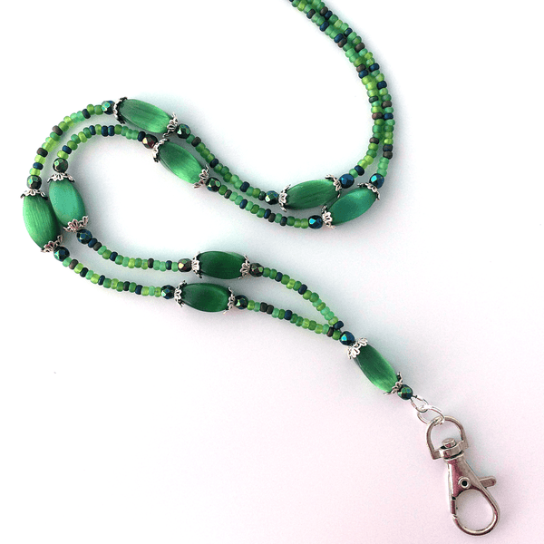 Green Beaded ID Badge Lanyard - Green Oblong Cat Eye Beads ID Necklace - Plum Beadacious -3