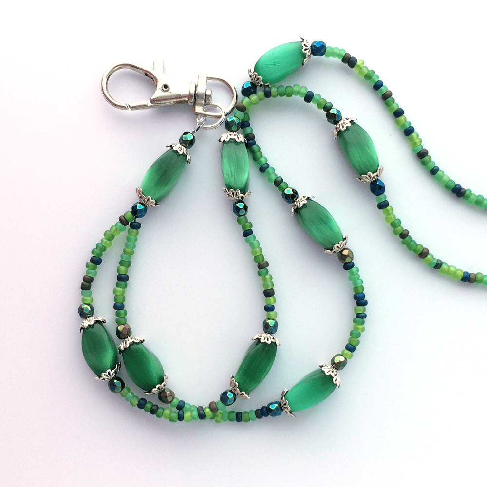 Green Beaded ID Badge Lanyard - Green Oblong Cat Eye Beads ID Necklace - Plum Beadacious