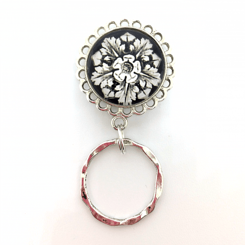 Fun White Flower on Black with Silver Magnetic Eyeglass Holder - EH01 - Plum Beadacious  - 1