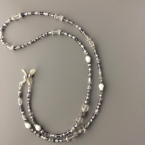 Custom Order for Daryl - White, Clear and Gray Eyeglass Chain - Plum Beadacious