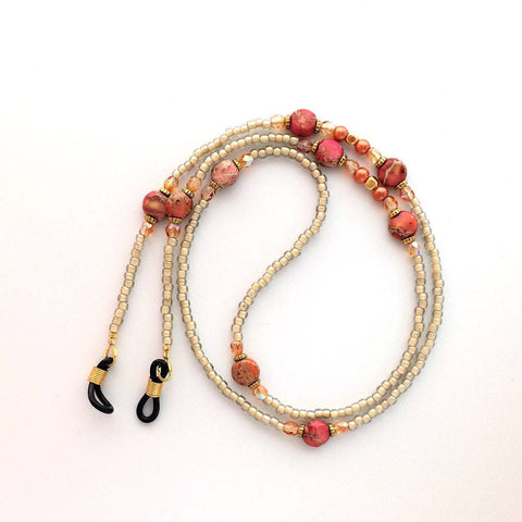 Flame Red Orange with Tan and Gold Beaded Eyeglass Chain