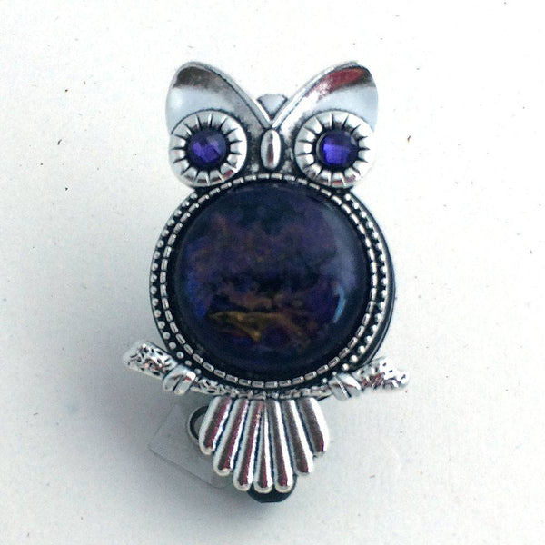 Magnetic ID Badge Reel -Silver Owl with Purple Vintage Acrylic Cabochon and Purple Eyes - Plum Beadacious