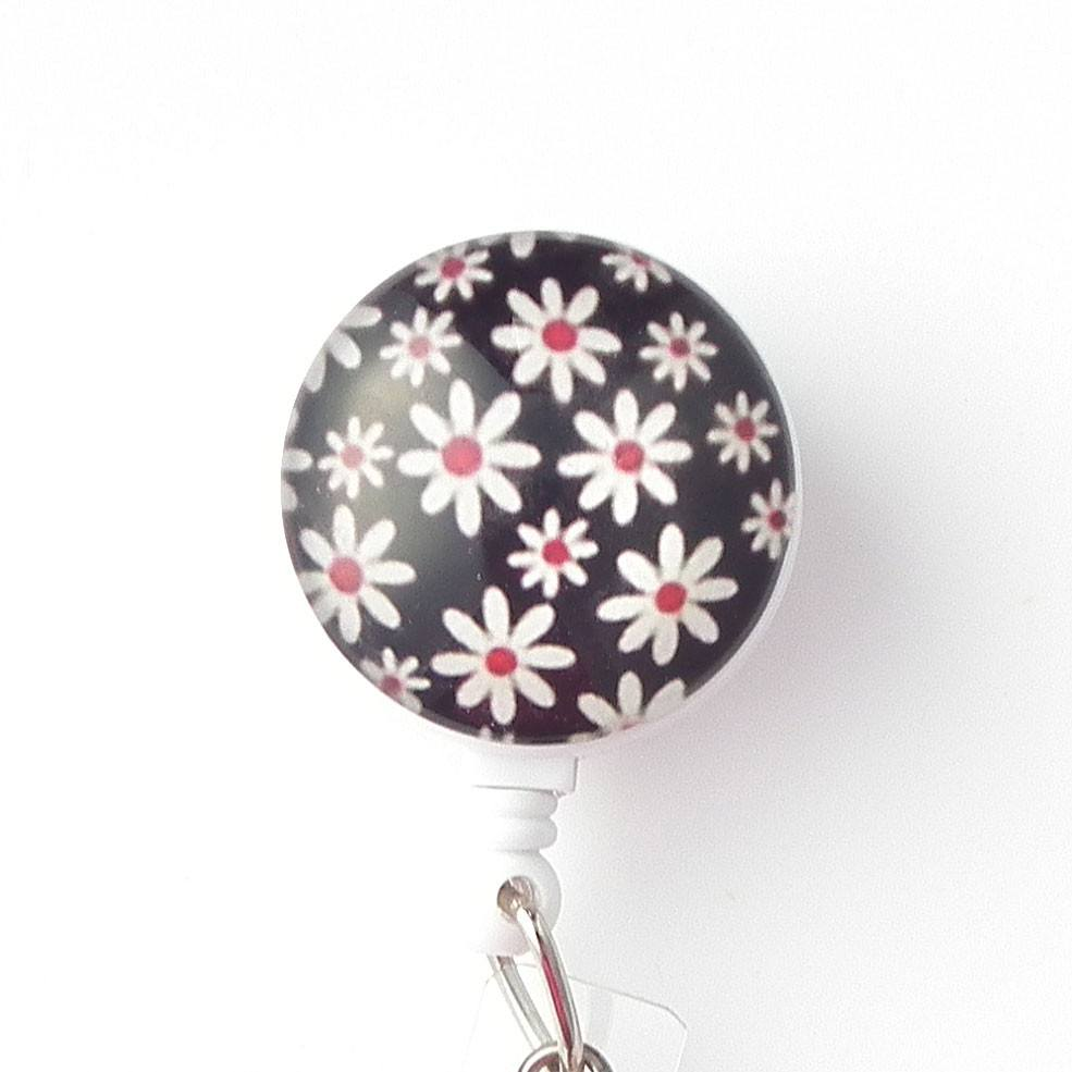 White Daisies on Black Design on White Badge Reel Magnetic ID Badge Reel - Plum Beadacious  - 1
