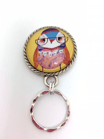 Lady Owl with Glasses Magnetic Eyeglass Holder - EH104 - Plum Beadacious  - 1