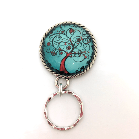 Magnetic Eyeglass Holder - Red Tree of Life on Blue Photoglass Cabochon -EH95 - Plum Beadacious  - 1