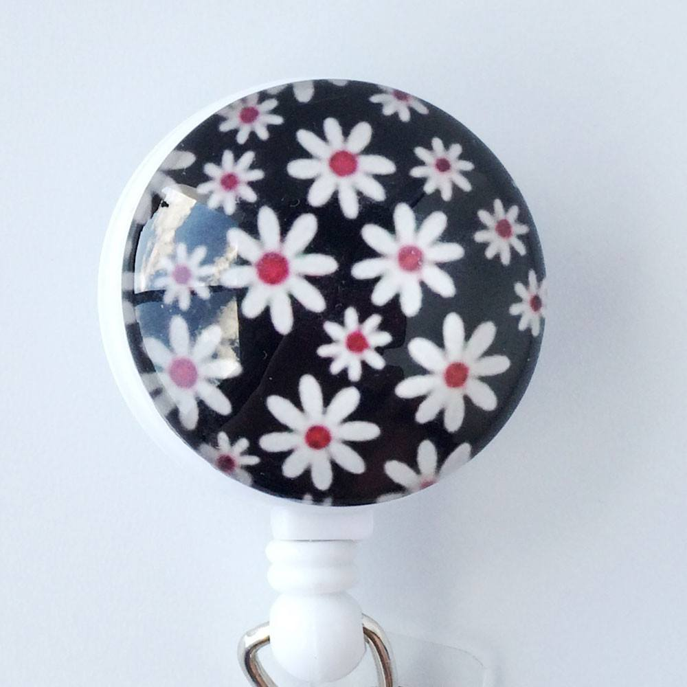 White Daisies on Black Design on Retractable ID Badge Reel, Flower Badge Reel  303 - Plum Beadacious  - 1