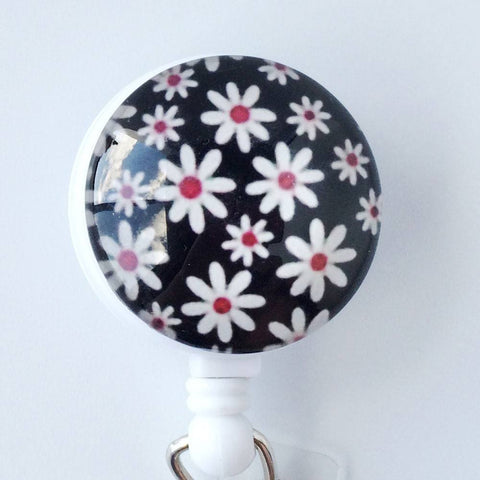 White Daisies on Black Design on Retractable ID Badge Reel, Flower Badge Reel  303