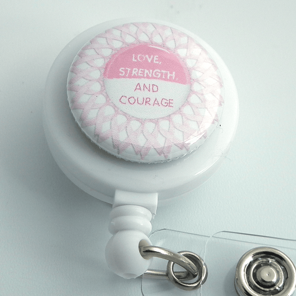 Breast Cancer Awareness Love, Courage and Srength on White ID Badge Reel - Plum Beadacious  - 1