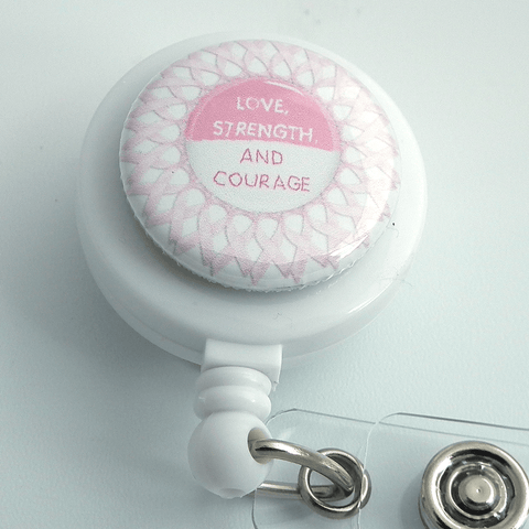 Breast Cancer Awareness Love, Courage and Srength on White ID Badge Reel