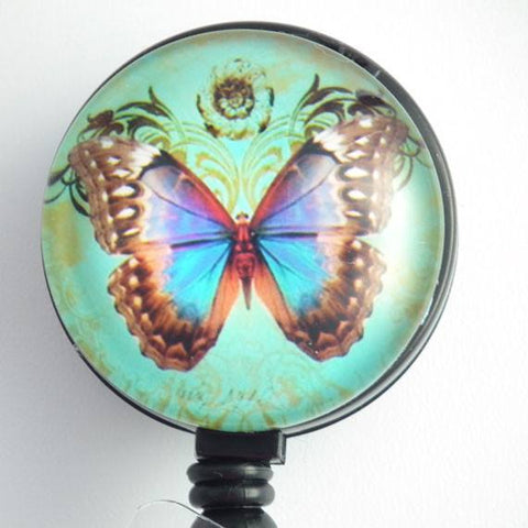 Retractable ID Badge Reel Butterfly on Light Green Background - ID Badge Holder 98 - Plum Beadacious