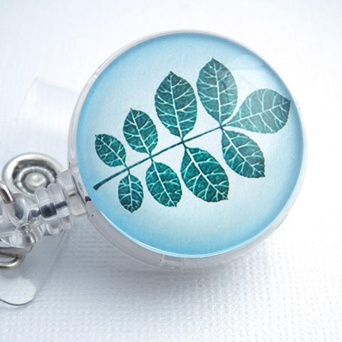 Blue Green Leaves Retractable ID Badge Holder - Name Badge Holder - 206 - Plum Beadacious