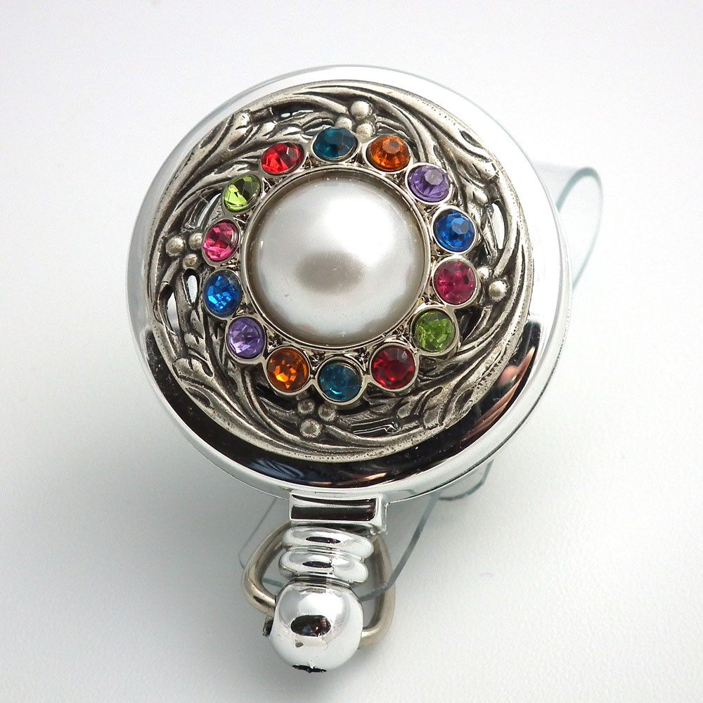 Magnetic Retractable ID Badge White Pearl and Rhinestone Button on Chrome Badge Reel - Plum Beadacious