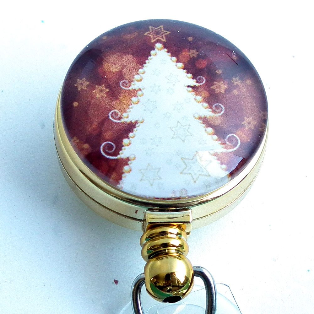 Retractable ID Badge Holder - White Christmas Tree on Golden Brown 252 - Plum Beadacious