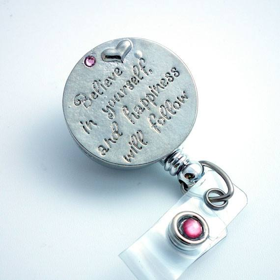 Silver Believe D Badge Reel - ID Badge Holder 155 - Plum Beadacious