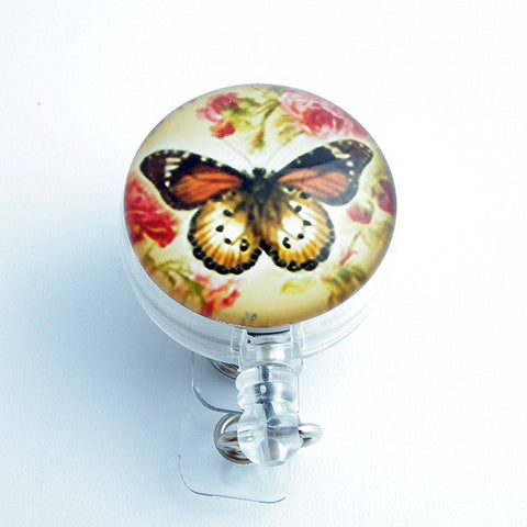 Butterfly and Roses Photo Glass on Badge Reel - Name Badge Holder 219