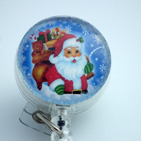 Christmas Santa with Bag of Toys Retractable ID Badge Holder 171 - Plum Beadacious