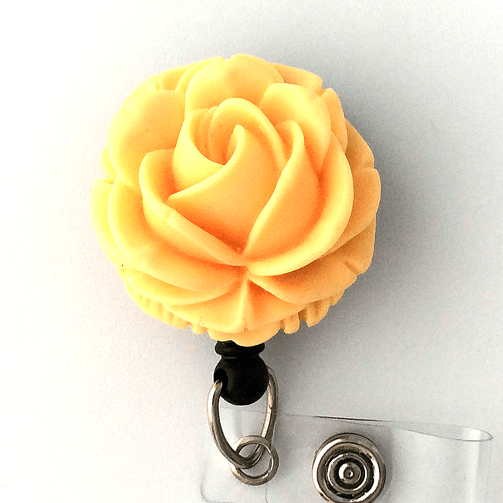 Yellow Rose Flower Badge Reel - Magnetic or Clip On Style 333