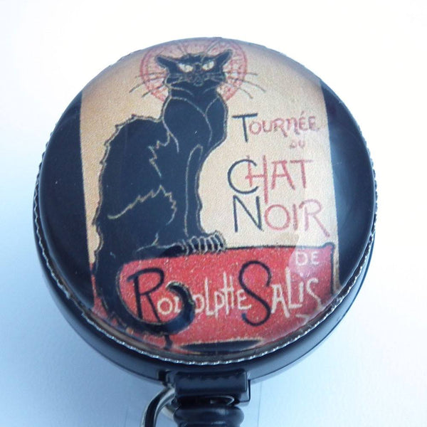 Halloween - Black Cat - Chat Noir Poster on ID Badge Reel - Name Badge Holder - 310 - Plum Beadacious  - 1