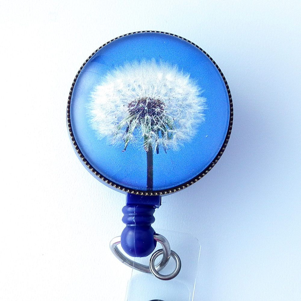 ID Badge Holder - Dandelion Design Photo Glass on Blue - Flower Badge Reel -312 - Plum Beadacious