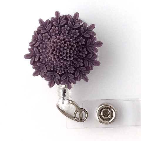 Purple Resin Flower Badge Reel - Magnetic or Clip On Style 332