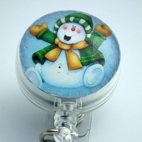 Christmas Happy Snowman Retractable ID Badge Holder - Holiday Badge Reel 170 - Plum Beadacious