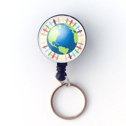 Hands Around the World Key Ring on Badge Reel, Key Chain