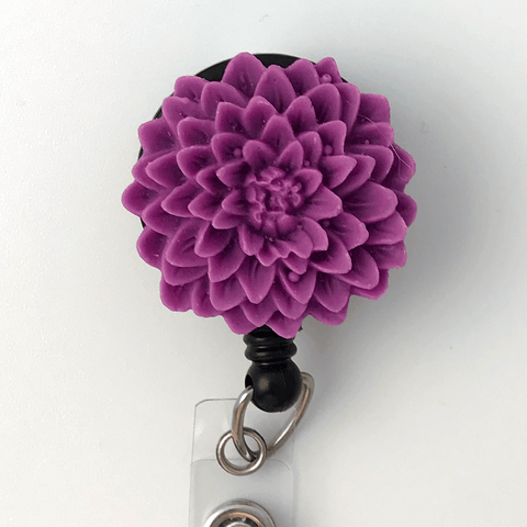 Red Violet Flower Badge Reel - Chrysanthemum - Resin Flower Cabochon on Retractable Badge Holder 363