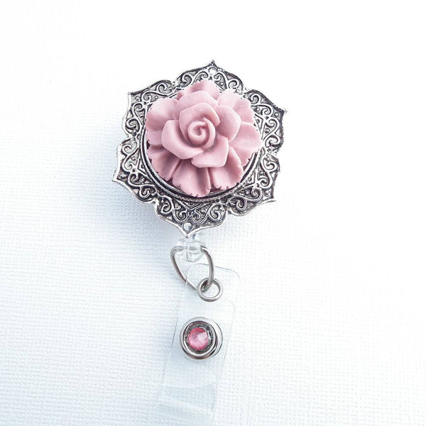 Soft Pink Rose on Antiqued Silver ID Flower Badge Reel - Pretty ID Badge - Name Badge Holder - Clear Badge Reel - Magnetic or Clip On Badge Reel - Plum Beadacious