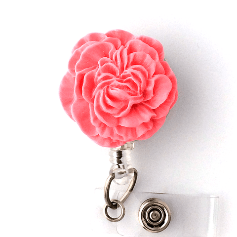 Pink Carnation Cabochon Flower Badge Reel - Magnetic or Clip On Style 331