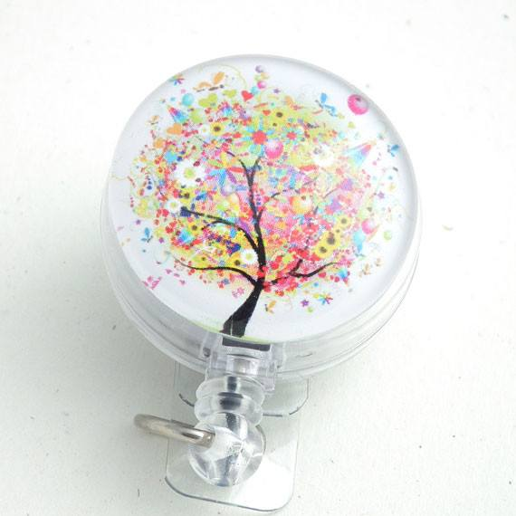 Magnetic Retractable ID Badge Colorful Tree on Clear Badge Reel - Plum Beadacious