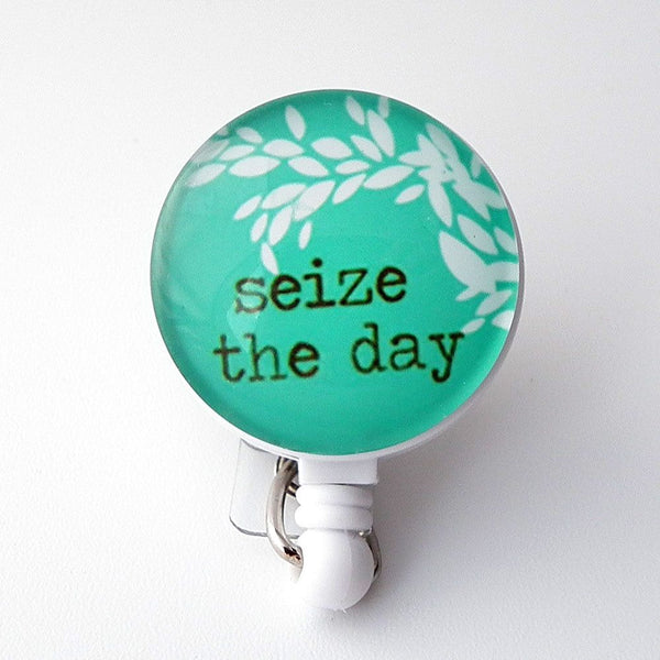 Seize the Day Badge Holder, Retractable ID Badge Reel, Inspirational Badge Reel 272 - Plum Beadacious