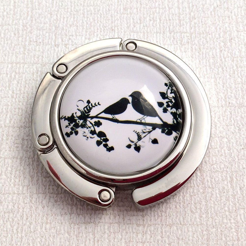 Purse Hook - Black Birds on a Branch Photoglass Cabochon - Plum Beadacious