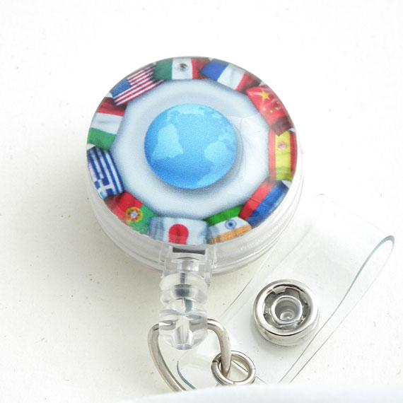 International Theme Flags and Globe Cabochon on Badge Reel-163 - Plum Beadacious