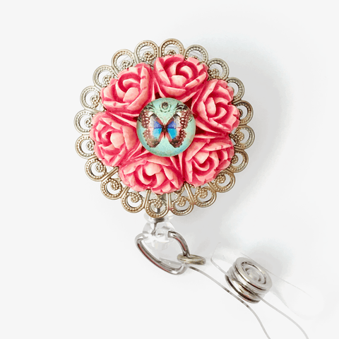 Rose Wreath with Butterfly and Filigree ID Badge Reel - Retractable Badge Holder 362 - Plum Beadacious