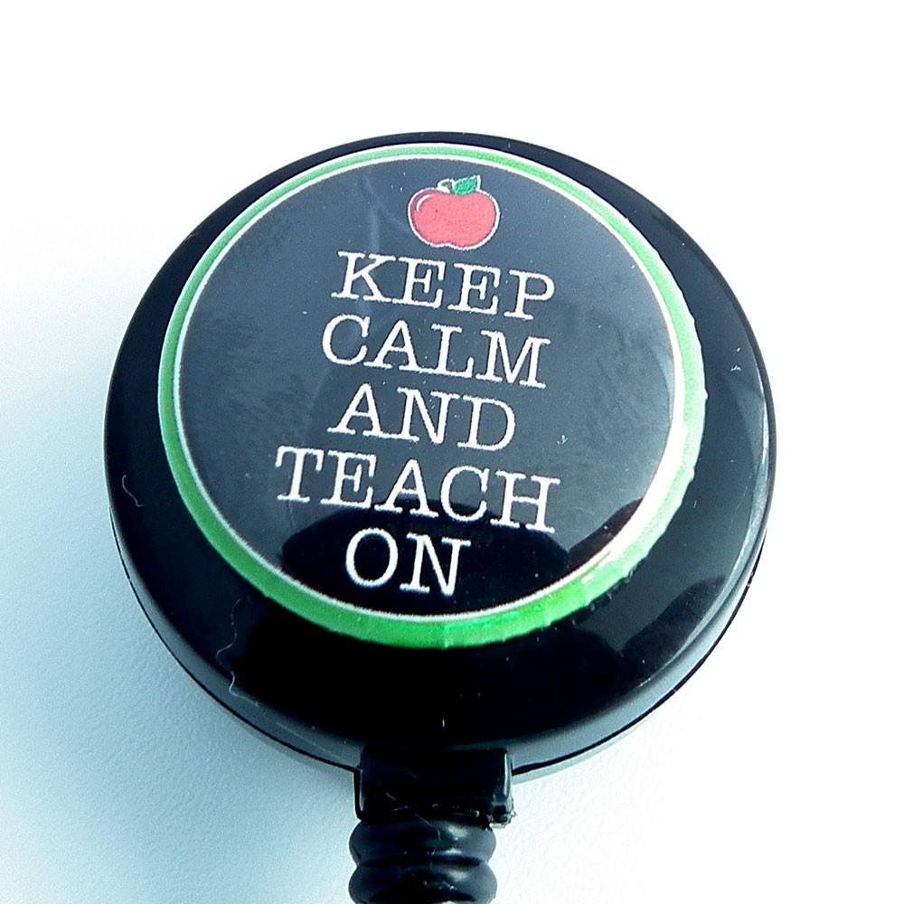 Retractable ID Badge Reel - Keep Calm and Teach On  Black Teacher Badge Reel - Plum Beadacious  - 1