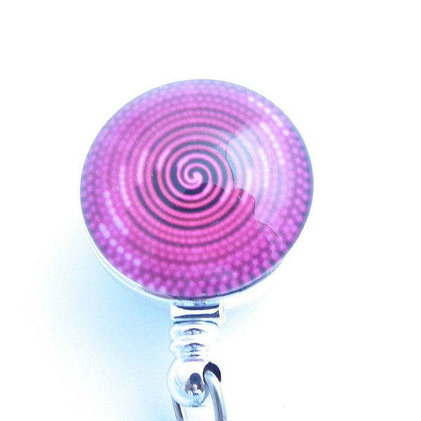 Magnetic Badge Holder - Hot Pink Concentric Circles on Chrome Badge Reel - Plum Beadacious