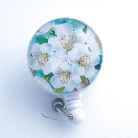 White Blossoms on ID Badge Holder, Flower Badge Reel  213