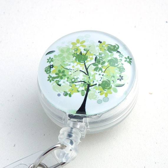 Retractable ID Badge Reel - Green Tree on White Background - Name Badge Holder 108 - Plum Beadacious