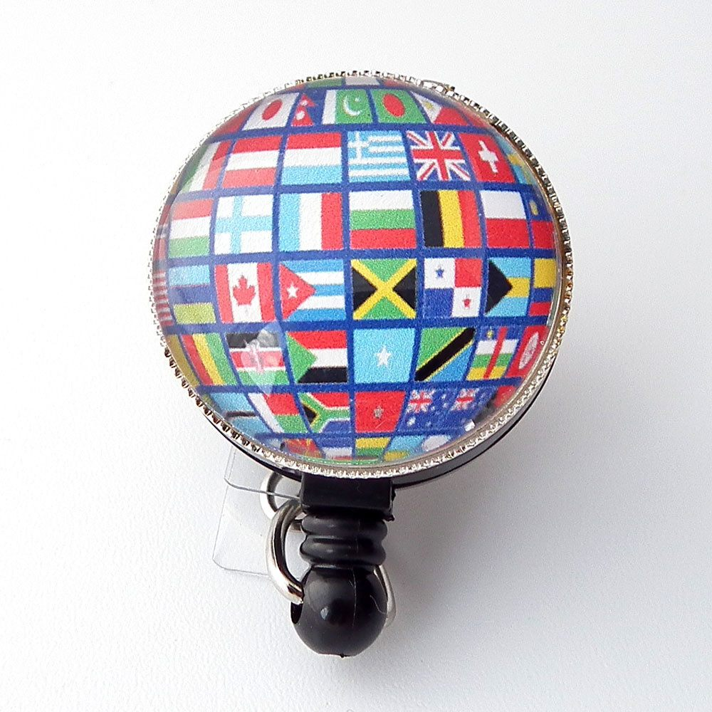 Flags of the World Badge Holder, Retractable ID Badge Reel, Name Badge Reel 269 - Plum Beadacious