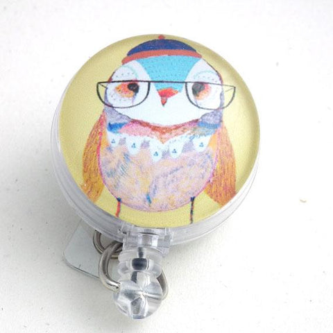 Lady Owl with Glasses Bird Badge Reel - Yellow - Retractable ID Badge Holder 104 - Plum Beadacious