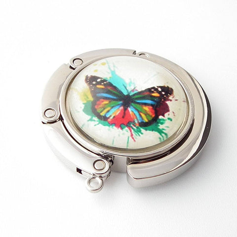 Artistic Butterfly Photo Glass Cabochon, Purse Hanger