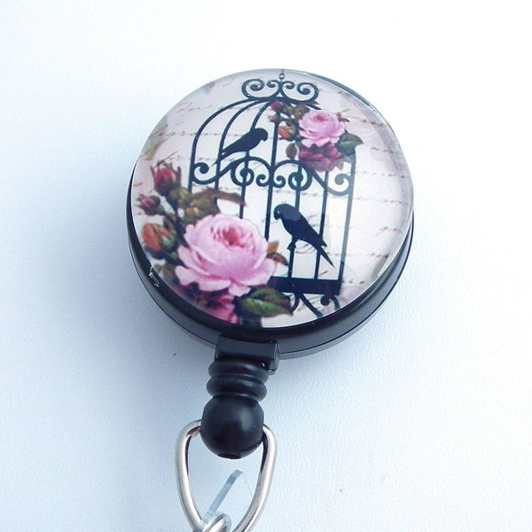 Magnetic Retractable ID Badge Birds and Rose in a Bird Cage - Black Badge Reel - Plum Beadacious