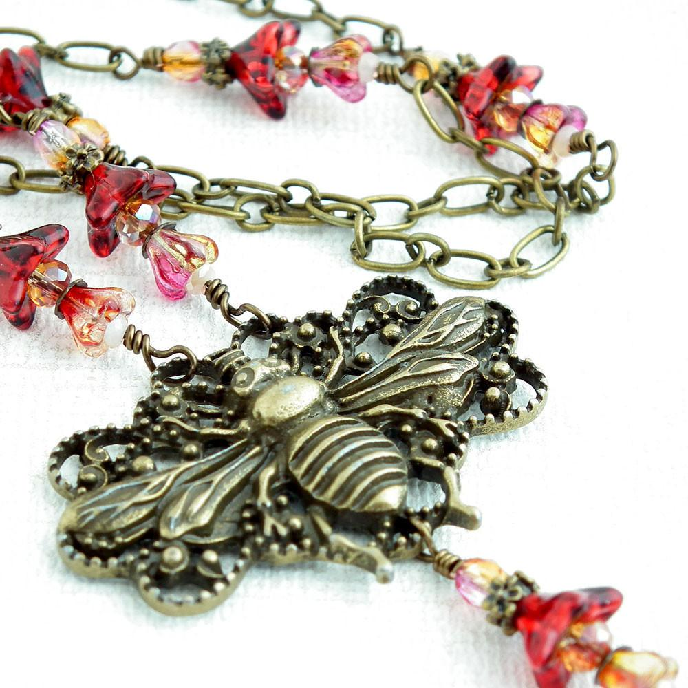 Antiqued Brass Chain ID Badge Lanyard, Antiqued Brass Bumble Bee, Red Czech Glass Flowers and Crystals - Plum Beadacious